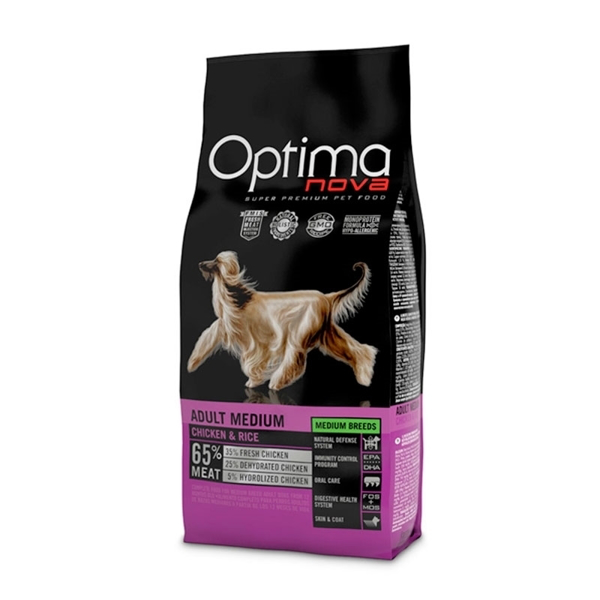 Изображение Optimanova Adult medium chicken and rice 12 кг